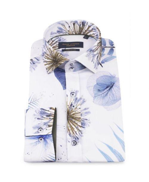 Guide London White/Sky Bold Spaced Leaf Print Shirt