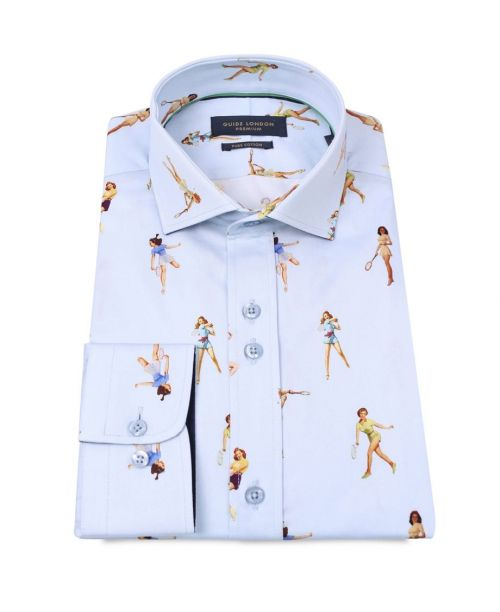 Guide London LS Cotton Sateen Shirt Pinups Tennis Players Sky