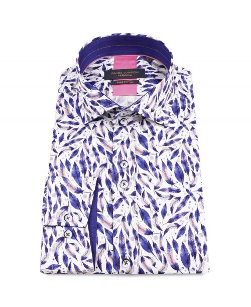 Guide London Cotton Sateen Shirt with Bright Feather Motif