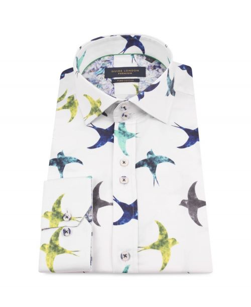 Guide London Cotton Sateen Shirt with Multi-coloured Flying Bird Print