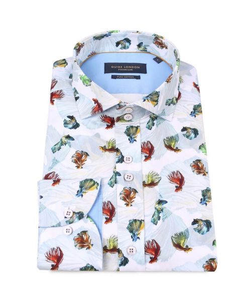 Guide London Cotton Sateen Fruit of the Sea Shirt with a Seaweed Background