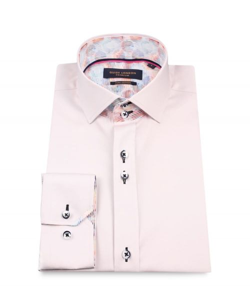 Guide London Cotton Sateen Shirt with Multistripe Collarband Oyster