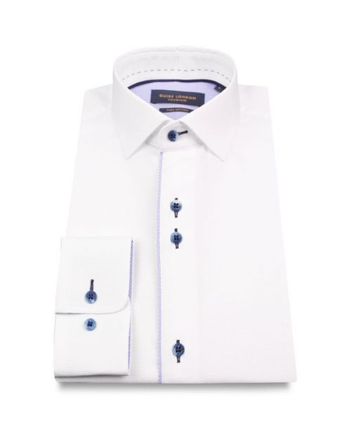 Guide London Smart Cotton Oxford Shirt with Contrast Details