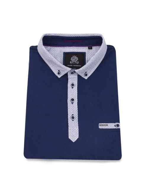 Guide London Classic Polo with Contrast Collar Navy