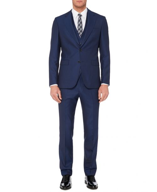 Remus Uomo Blue Slim Fit Wide Lapel 2 Piece Suit - Suits