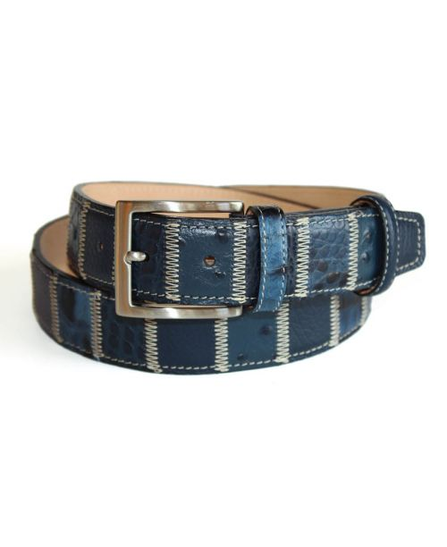 Robert Charles Blue Patchwork Leather Belt 35mm