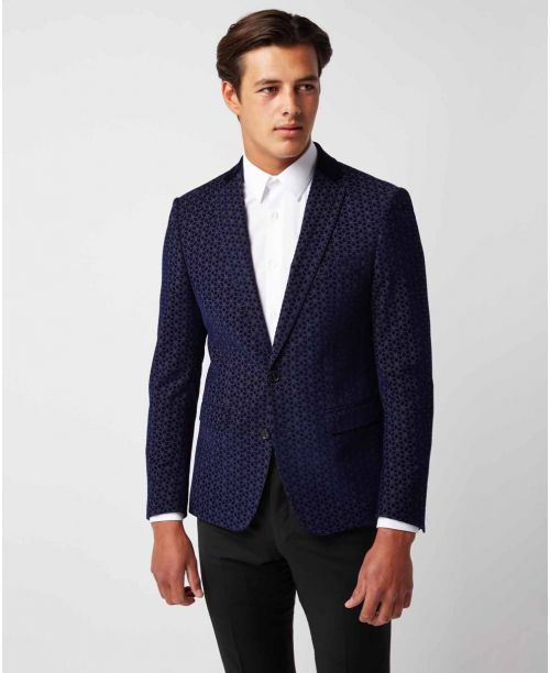 Remus Uomo Slim Fit Wool-Blend Smoking Jacket Navy