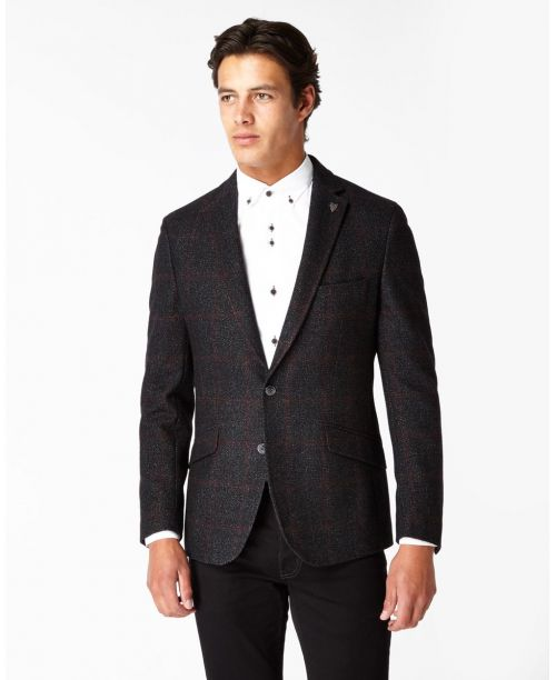 Remus Uomo Tapered Fit Wool-Rich Check Tweed Jacket Charcoal