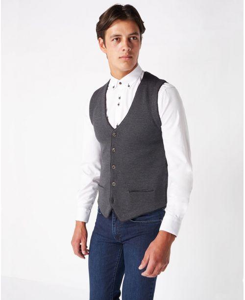 Remus Uomo Fine Gauge Merino Wool-Blend Knitted Waistcoat Grey
