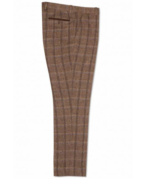 Fratelli Uniti Tan Bold Herringbone and Overcheck Trousers