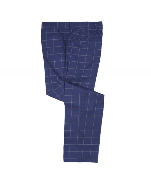 Guide London Classic Windowpane Check Trousers Blue