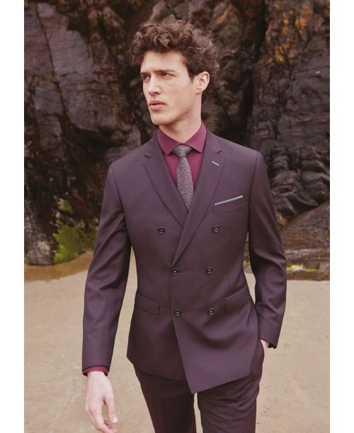 Remus Uomo Slim Fit Wool-Rich 2-Piece Double-Breasted Suit Dark Red