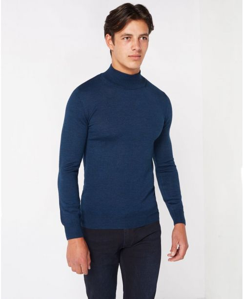 Remus Uomo Slim-Fit Merino Wool-Blend Turtle Neck Sweater Blue