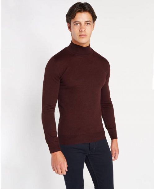 Remus Uomo Slim-Fit Merino Wool-Blend Turtle Neck Sweater Burgundy