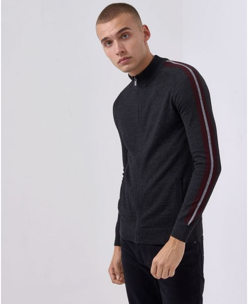 Remus Uomo Tapered-Fit Merino Wool-Blend Full Zip Sweater Charcoal