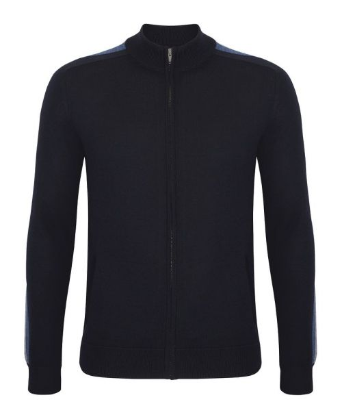 Remus Uomo Tapered-Fit Merino Wool-Blend Full Zip Sweater Navy