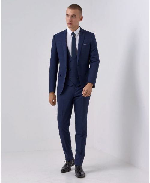 Remus Uomo Slim-Fit Wool-Blend Micro-Check MnM 3-Piece Suit