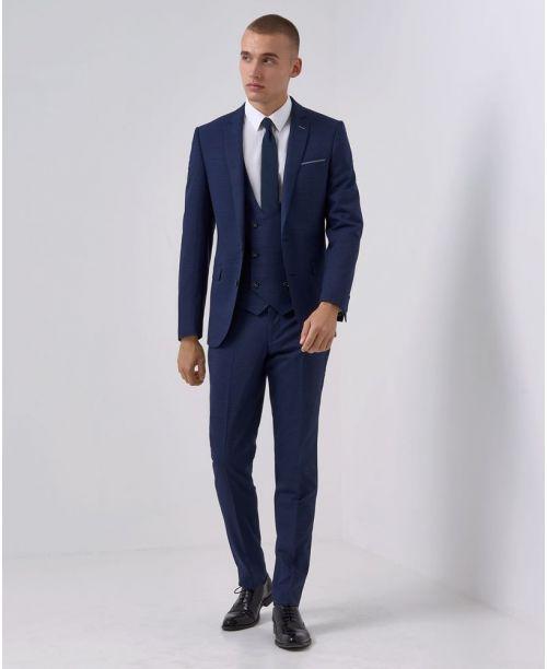 Remus Uomo Slim-Fit Wool-Blend Micro-Check MnM 3-Piece Suit