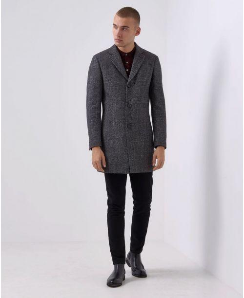 Remus Uomo Slim-Fit Wool-Mix Tailored Coat Grey