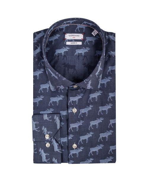 Giordano Maggiore LS Cutaway Reindeer Print Blue
