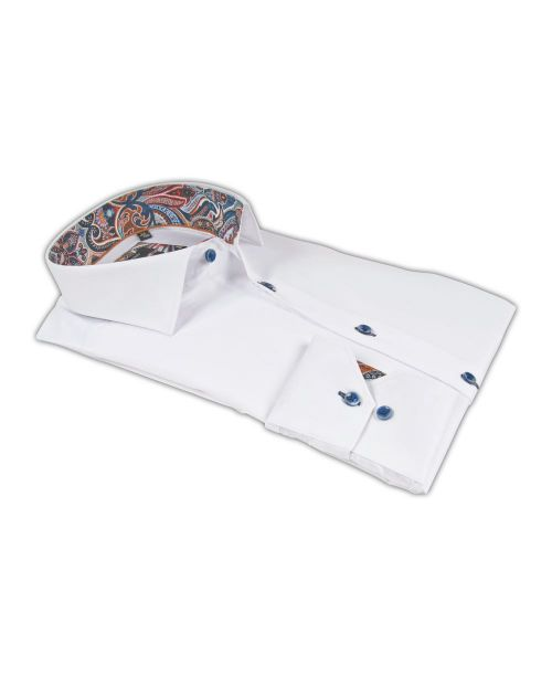 Giordano Baggio LS Cutaway White with Paisley Trim