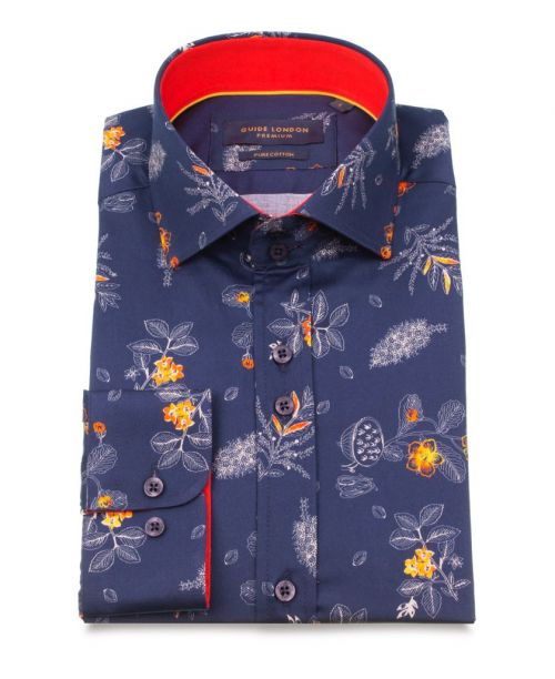 Guide London Navy Cotton Tropical Flower and Fruit Print Shirt