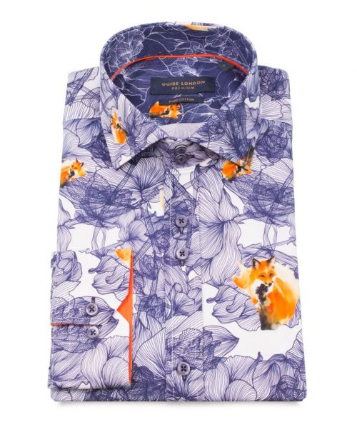 Guide London White Cotton Sateen Abstract Fox Print Shirt