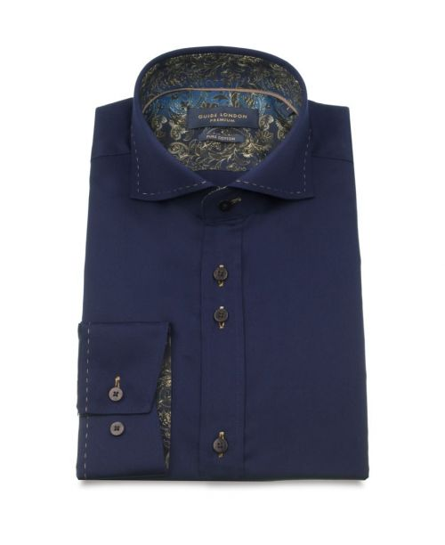 Guide London Cotton Sateen Shirt with a Paisley Contrast Navy