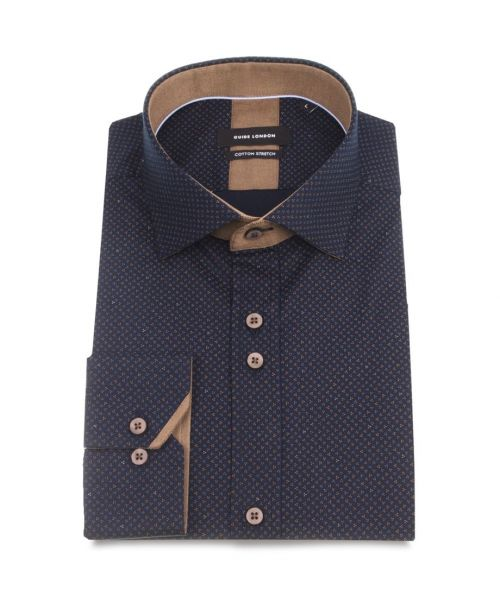 Guide London Navy Cotton Stretch Ditsy Pattern Shirt