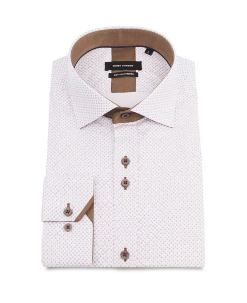 Guide London Off White Cotton Stretch Ditsy Pattern Shirt