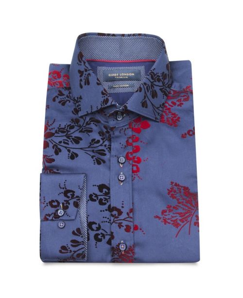 Guide London Cotton Sateen Shirt with a Flocked Flower Print Navy