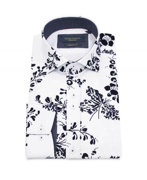 Guide London Cotton Sateen Shirt with a Flocked Flower Print White
