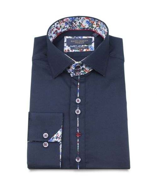 Guide London Cotton Sateen Shirt with Floral Trim Navy