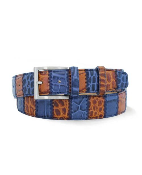 Robert Charles Blue/Tan Patchwork Leather 35mm Belt