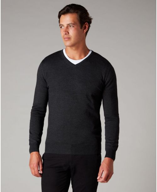 Remus Uomo Tapered Fit Merino Wool-Blend V-Neck Sweater Charcoal
