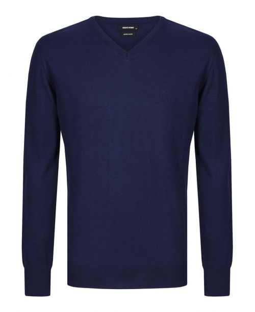 Remus Uomo Tapered Fit Merino Wool-Blend V-Neck Sweater Blue