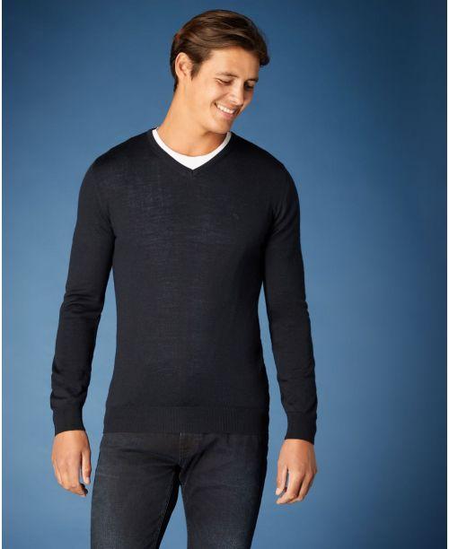 Remus Uomo Tapered Fit Merino Wool-Blend V-Neck Sweater Navy