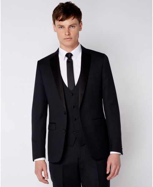 Remus Uomo Slim Fit Wool-Rich Mix n Match 2 Piece Dinner Suit Black