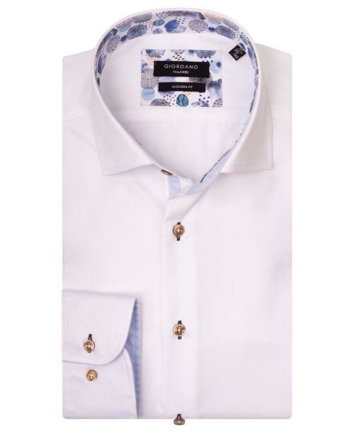 Giordano Brooks LS Semi-Cutaway White/Blue Trim
