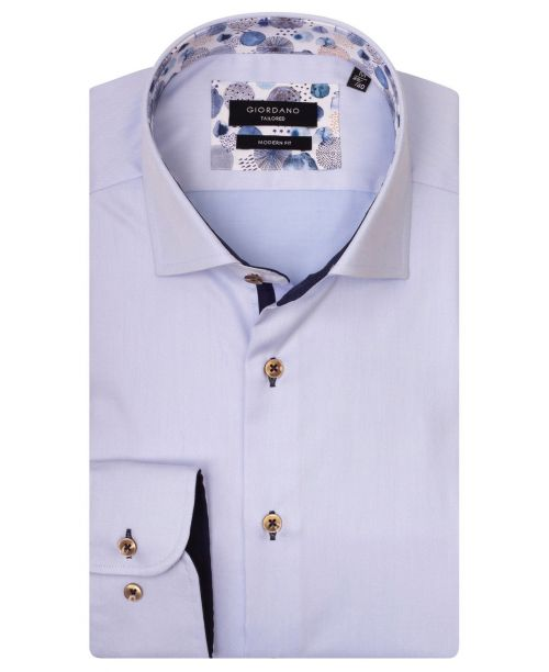 Giordano Brooks LS Semi-Cutaway Pale Blue/Blue Trim