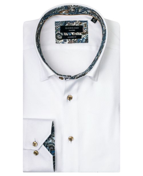 Giordano Brighton LS Button Under White/Blue Paisley Trim