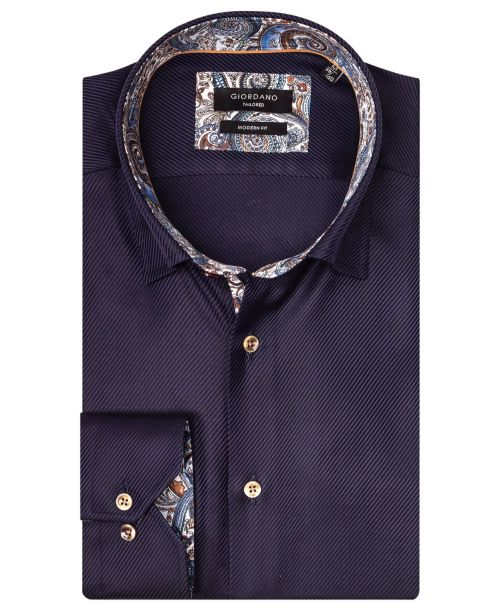 Giordano Brighton LS Button Under Navy/Blue Paisley Trim