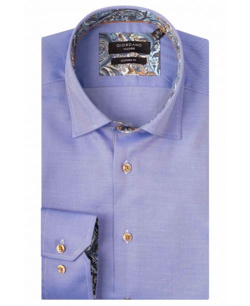 Giordano Brighton LS Button Under Blue/Blue Paisley Trim