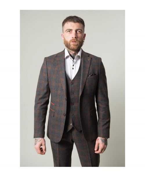 Fratelli Uniti Charcoal Check 3 Piece Suit