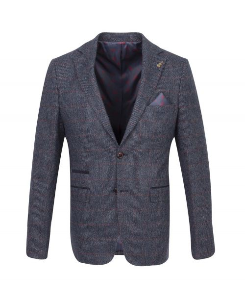 Fratelli Uniti Navy Windowpane Check Tweed Jacket