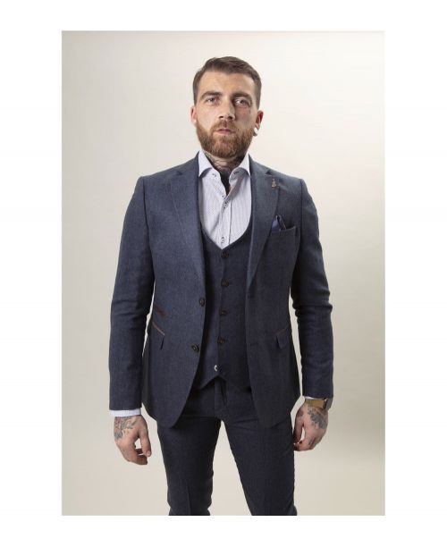 Fratelli Uniti Navy Herringbone 3 Piece Suit
