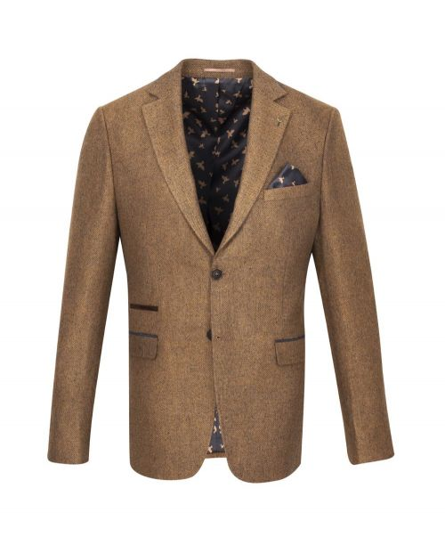 Fratelli Uniti Tan Herringbone Jacket