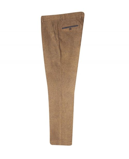 Fratelli Uniti Tan Herringbone Trousers