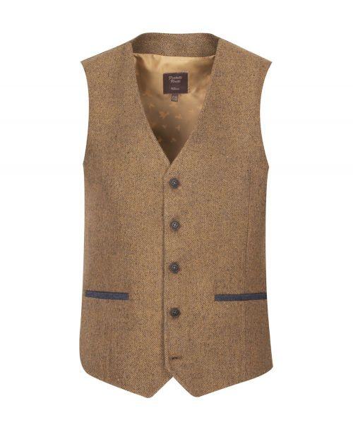Fratelli Uniti Tan Herringbone Waistcoat
