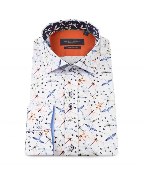 Guide London Cotton Sateen Dragonfly Print Shirt White